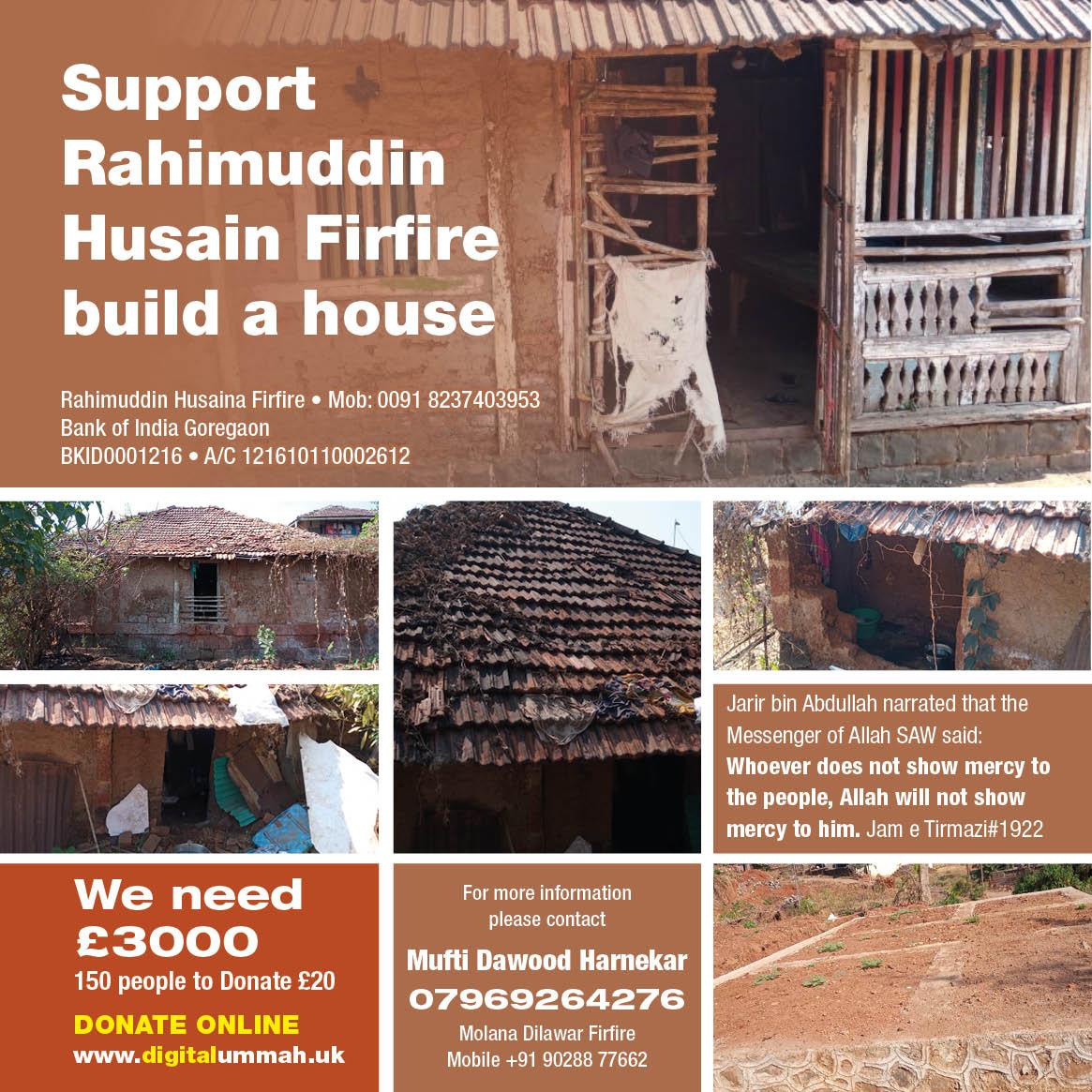 Support Rahimuddin Husaina Firfire build a house
